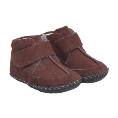 Little Blue Lamb - Chaussures premiers pas cuir souple | Montantes marron