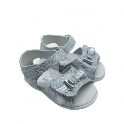 Chaussures semelle souple sandales ouvertes NOEUD ARGENT