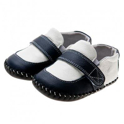 Little Blue Lamb - Krabbelschuhe Babyschuhe Leder - Jungen | Schwarze und weiße Mokassine