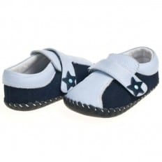 Little Blue Lamb - Baby boys first steps soft leather shoes | Bicolore blue mocassins