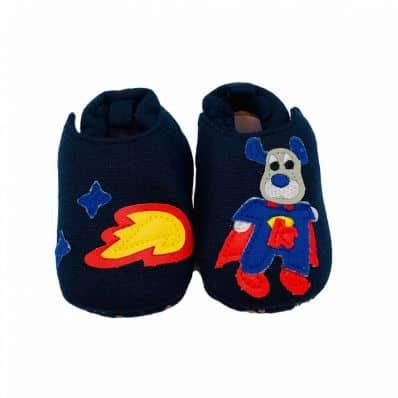 Chaussons en tissu DOG SUPER HÉROS C2BB - chaussons, chaussures, chaussettes pour bébé