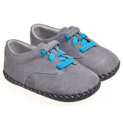 Little Blue Lamb - Baby boys first steps soft leather shoes | Grey sneakers blue laces