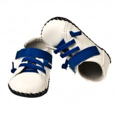 Little Blue Lamb - Baby boys first steps soft leather shoes   White and blue sneakers
