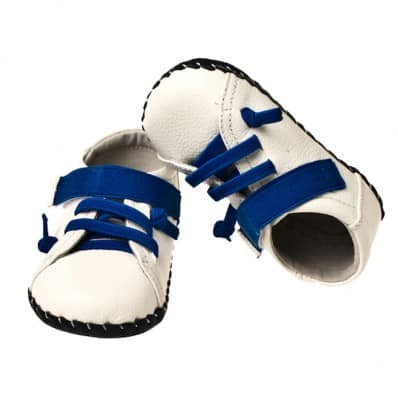 Little Blue Lamb - Baby boys first steps soft leather shoes | White and blue sneakers