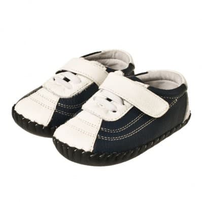 Little Blue Lamb - Baby boys first steps soft leather shoes | Navy blue sneakers