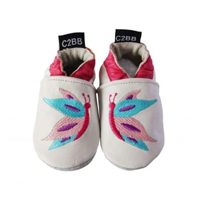 Chaussons en cuir souple brodé PAPILLONS by Léa - Reconditionné C2BB - chaussons, chaussures, chaussettes pour bébé