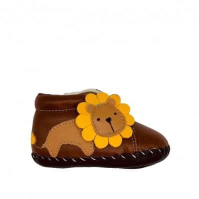 Bottines fourrées premiers pas Lion Camel C2BB - chaussons, chaussures, chaussettes pour bébé