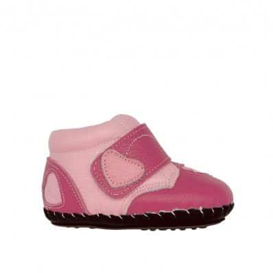Bottines fourrées premiers pas coeur C2BB - chaussons, chaussures, chaussettes pour bébé