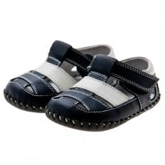 Little Blue Lamb - Scarpine primi passi bimba in morbida pelle | Sandali Navy White