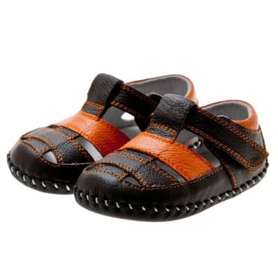 Little Blue Lamb - Baby boys first steps soft leather shoes | Brown and orange sandals