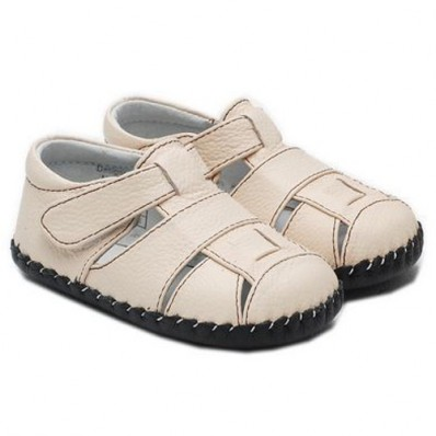 Little Blue Lamb - Chaussures premiers pas cuir souple | Sandales crème