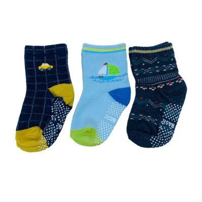 Lot de chaussettes antidérapantes NAVY BLUE C2BB - chaussons, chaussures, chaussettes pour bébé