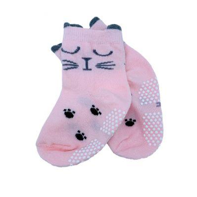 chaussette antidérapante CHAT ROSE C2BB - chaussons, chaussures, chaussettes pour bébé