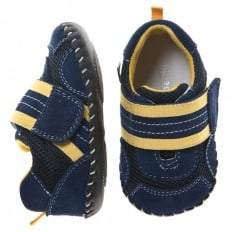 Little Blue Lamb - Baby boys first steps soft leather shoes |  Blue Sneakers yellow velcro