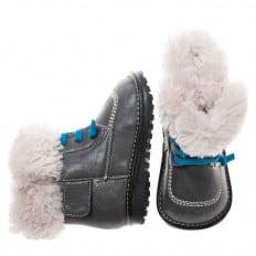 Little Blue Lamb - Scarpine bimba primi passi con fischietto | Stivaletti inverno foderato ubriaca lacci blu