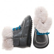 Little Blue Lamb - Squeaky Leather Toddler boys Shoes | Grey winter bootees with blue laces