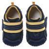 Little Blue Lamb - Chaussures premiers pas cuir souple | Baskets bleu velcro jaune
