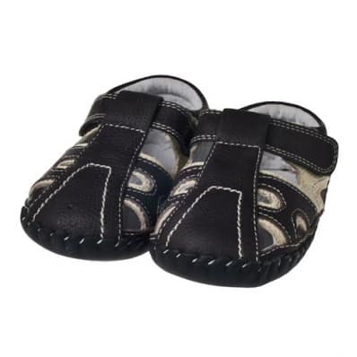 Little Blue Lamb - Baby boys first steps soft leather shoes | Black sandals bicolor