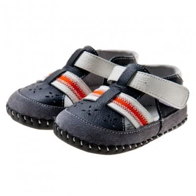 Little Blue Lamb - Baby boys first steps soft leather shoes | Navy red strip sandals