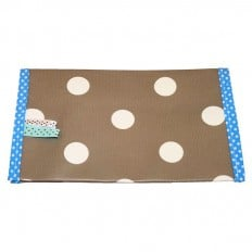 Oilcloth checkbook holder Made in France | Brown with white dots