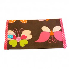 Oilcloth checkbook holder Made in France | Black with flowers