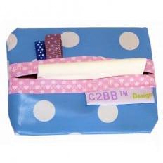 Pochette à mouchoirs en papier MADE IN FRANCE | Bleu à pois