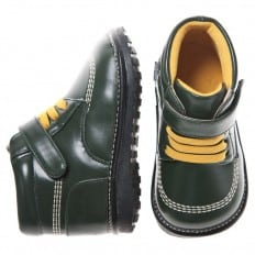 Little Blue Lamb - Squeaky Leather Toddler boys Shoes | Dark green winter bootees