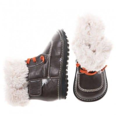 Little Blue Lamb - Zapatos de cuero chirriantes - squeaky shoes niños | Botines forrados negros cordones anaranjados