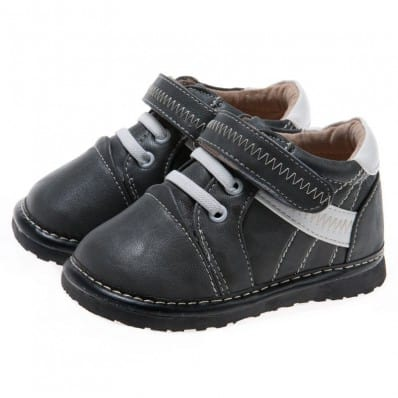 Little Blue Lamb - Squeaky Leather Toddler boys Shoes | Grey