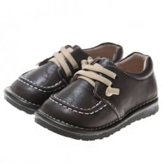 Little Blue Lamb - Squeaky Leather Toddler boys Shoes | Brown boat with beige laces