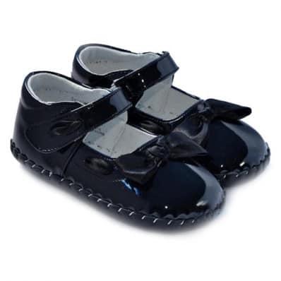 FREYCOO - Chaussures premiers pas cuir souple | Noir papillon cérémonie
