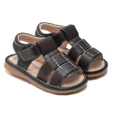 Little Blue Lamb - Zapatos de cuero chirriantes - squeaky shoes niños | Sandalias marrón oscuro