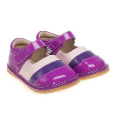 Little Blue Lamb - Zapatos de cuero chirriantes - squeaky shoes niñas | Morado Rayado