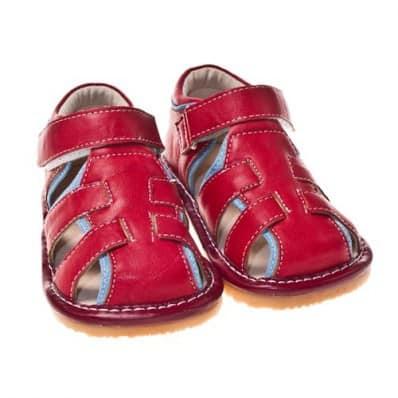Little Blue Lamb - Krabbelschuhe Babyschuhe squeaky Leder - Jungen | Sandalen rot
