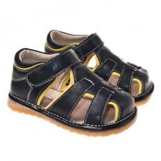 Little Blue Lamb - Squeaky Leather Toddler boys Shoes | Black sandals