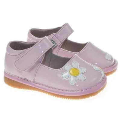 Little Blue Lamb - Squeaky Leather Toddler Girls Shoes | White flower pink ceremony