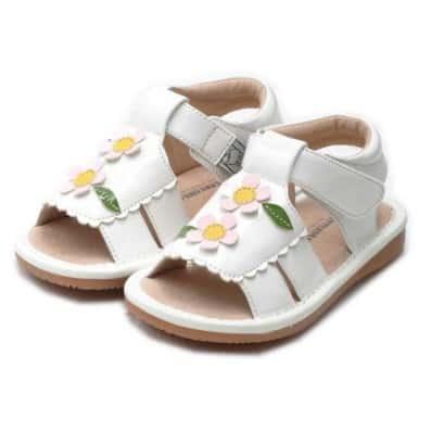 Little Blue Lamb - Krabbelschuhe Babyschuhe squeaky Leder - Mädchen   Weiße Sandalen 2 rosa Blumen Zeremonie