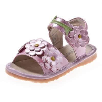 Little Blue Lamb - Chaussures à sifflet | Sandales rose 4 fleurs cérémonie