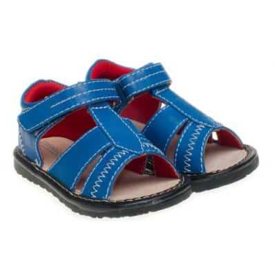 Little Blue Lamb - Squeaky Leather Toddler boys Shoes | Blue sandals