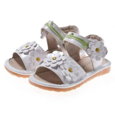 Little Blue Lamb - Chaussures à sifflet | Sandales blanche 4 fleurs cérémonie
