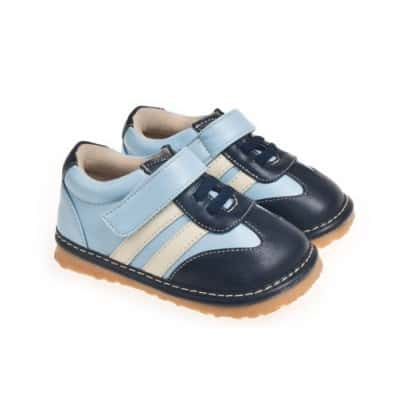 Little Blue Lamb - Squeaky Leather Toddler boys Shoes | Blue sneakers
