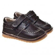 Little Blue Lamb - Squeaky Leather Toddler boys Shoes | Brown boat
