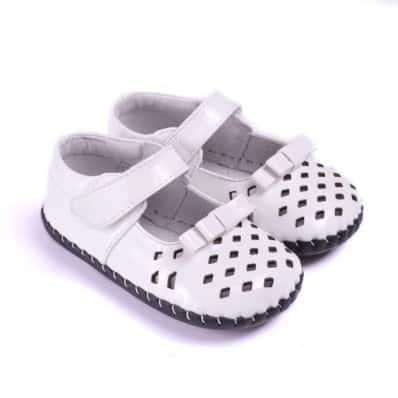 CAROCH - Chaussures premiers pas cuir souple | Blanches petits losanges