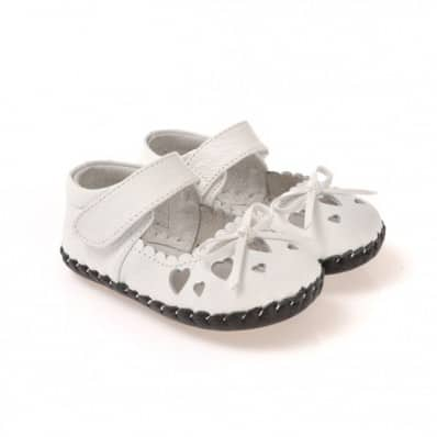 CAROCH - Chaussures premiers pas cuir souple | Blanches petits coeurs