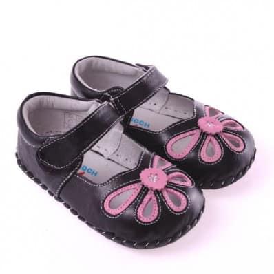 CAROCH - Zapatos de bebe primeros pasos de cuero niñas   Sandalias negras y rosas