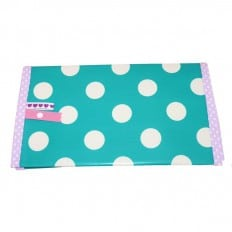 Oilcloth checkbook holder Made in France | Green with white dots