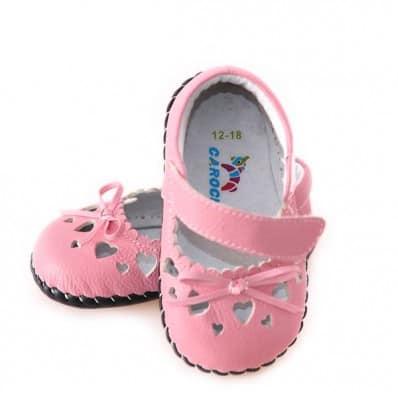 CAROCH - Chaussures premiers pas cuir souple | Roses petits coeurs