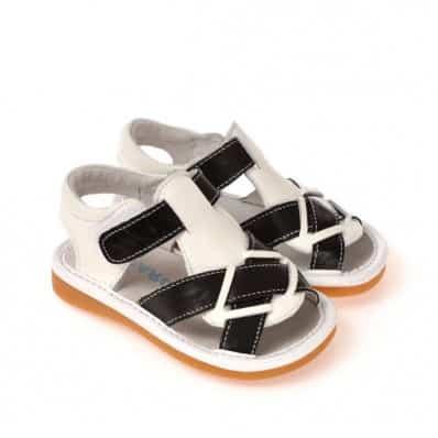 CAROCH - Chaussures à sifflet | Sandales noires et blanches