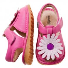 Little Blue Lamb - Squeaky Leather Toddler Girls Shoes | Pink white marguerite sandals