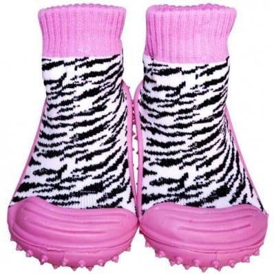 Hausschuhe - Socken Baby Kind geschmeidige Schuhsohle Mädchen   Farbe zebre